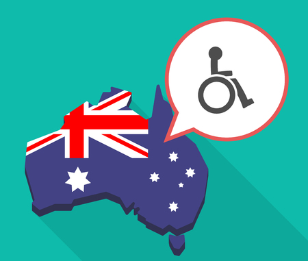 oceania: Illustration of a long shadow map of Australia with a comic balloon and  a human figure in a wheelchair icon Illustration