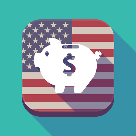 Illustration of a long shadow square app button with the United States of America flag and a piggy bank Illustration