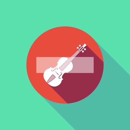 長い影のイラストは、バイオリンを持つ信号を入力しないでください。