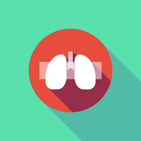 forbid: Illustration of a long shadow do not enter signal with  a healthy human lung icon