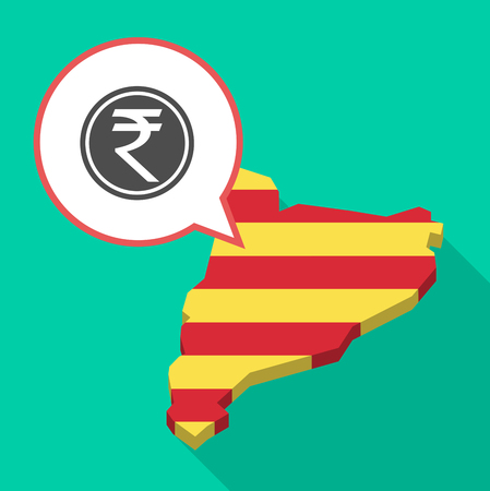 Illustration of a long shadow map of Catalonia with a comic balloon and  a rupee coin icon