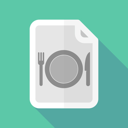 page long: Illustration of a long shadow document with  a dish, knife and a fork icon