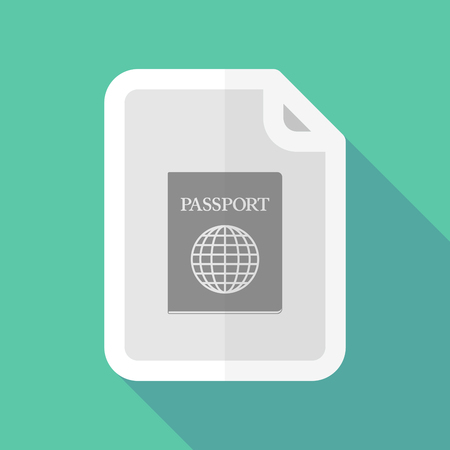 page long: Illustration of a long shadow document with  a passport Illustration