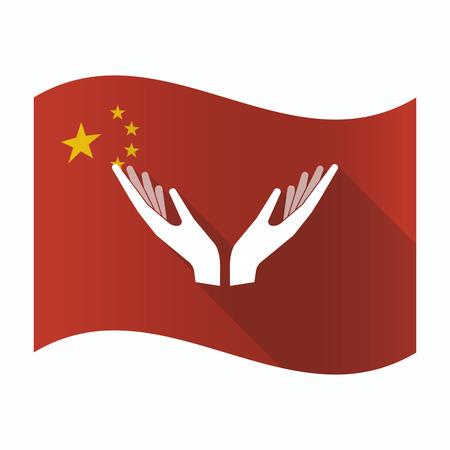 Illustratie van een wuivende vlag van China met twee handen aanbieden