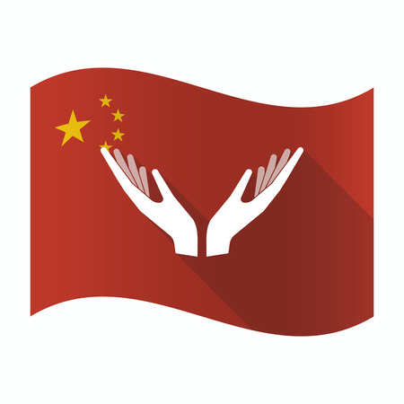 Illustration of a waving China flag with  two hands offering