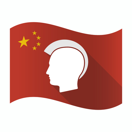 Illustration of a waving China flag with  a male punk head silhouette