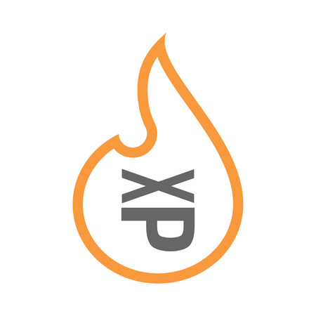 Illustration of a line art flame with  a Tongue sticking text face emoticon Illustration