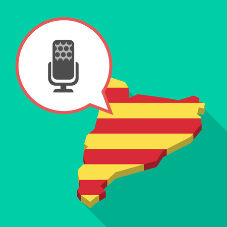 Illustration of a long shadow map of Catalonia with a comic balloon and  a microphone sign Illustration