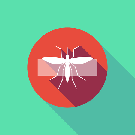 Illustration of a long shadow do not enter signal with  a mosquito