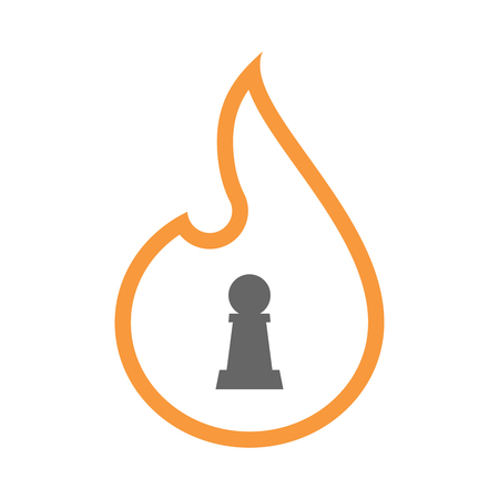 Illustration of a line art flame with a  pawn chess figure