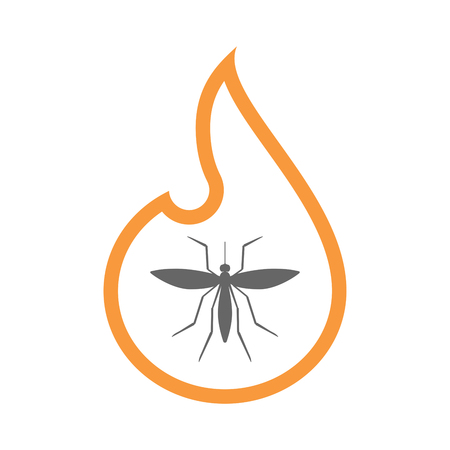 Illustration of a line art flame with  a mosquito Illustration