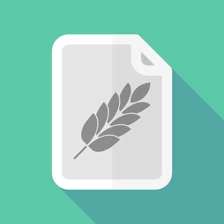 page long: Illustration of a long shadow document with  a wheat plant icon