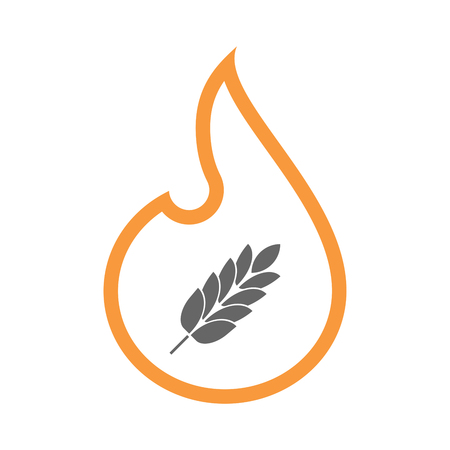 Illustration of a line art flame with  a wheat plant icon