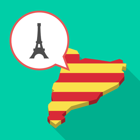 Illustration of a long shadow map of Catalonia with a comic balloon and   the Eiffel tower