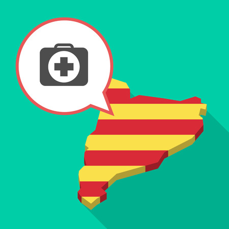 map case: Illustration of a long shadow map of Catalonia with a comic balloon and  a first aid kit icon Illustration