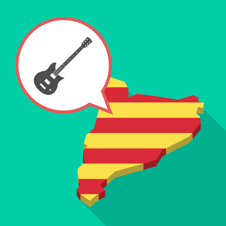 Illustration of a long shadow map of Catalonia with a comic balloon and  an electric guitar Illustration