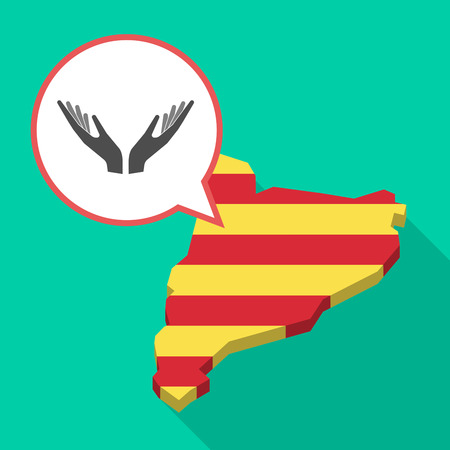 Illustration of a long shadow map of Catalonia with a comic balloon and  two hands offering