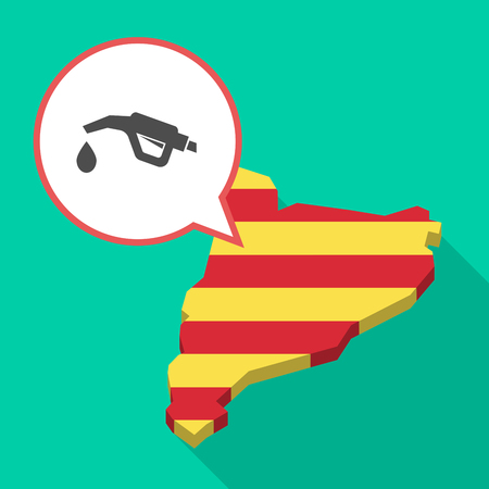 Illustration of a long shadow map of Catalonia with a comic balloon and  a gas hose icon