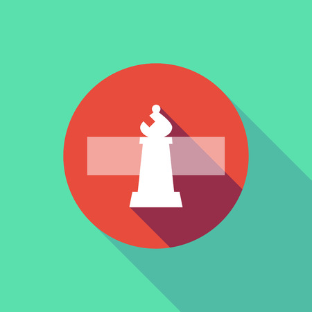 Illustration of a long shadow do not enter signal with a bishop    chess figure Illustration