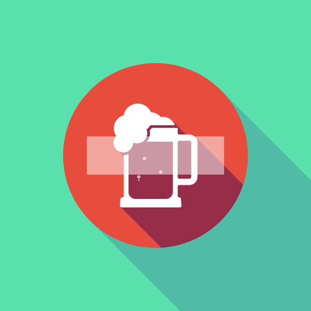Illustration of a long shadow do not enter signal with  a beer jar icon Illustration