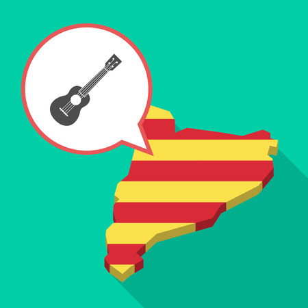 Illustration of a long shadow map of Catalonia with a comic balloon and  an ukulele