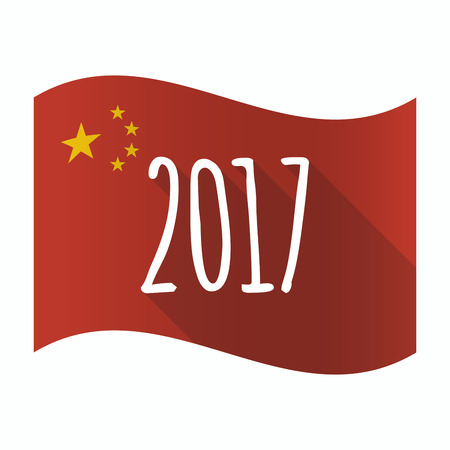 Illustration of a waving China flag with  a 2017 year  number icon