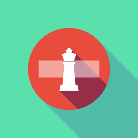 Illustration of a long shadow do not enter signal with a  king   chess figure
