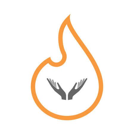 Illustration of a line art flame with  two hands offering