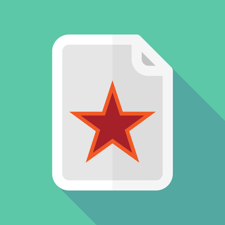 Illustration of a long shadow document with  the red star of communism icon