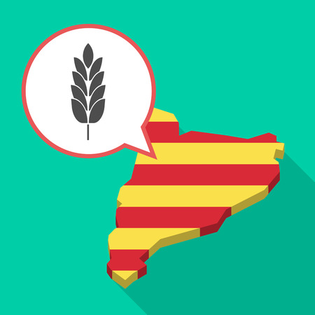 Illustration of a long shadow map of Catalonia with a comic balloon and  a wheat plant icon Illustration