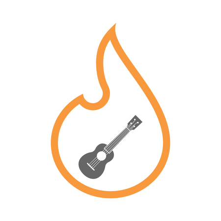 Illustration of a line art flame with  an ukulele Illustration