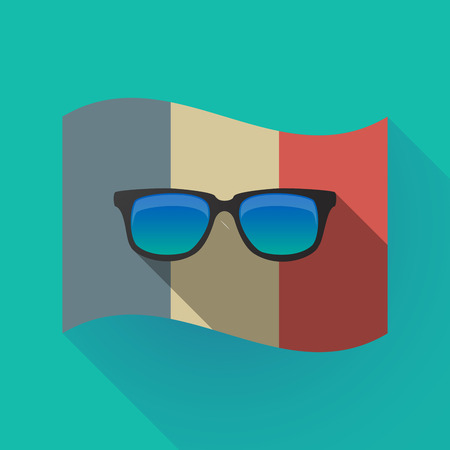 Illustration of a long shadow France flag with  a sunglasses icon Illustration