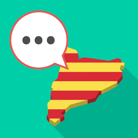 Illustration of a long shadow map of Catalonia with a comic balloon and  an ellipsis orthographic sign Illustration