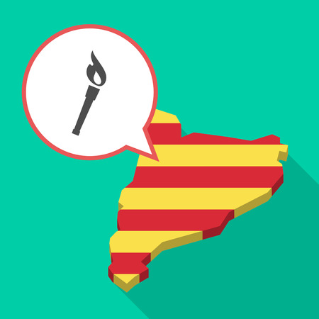 Illustration of a long shadow map of Catalonia with a comic balloon and  a torch icon Illustration