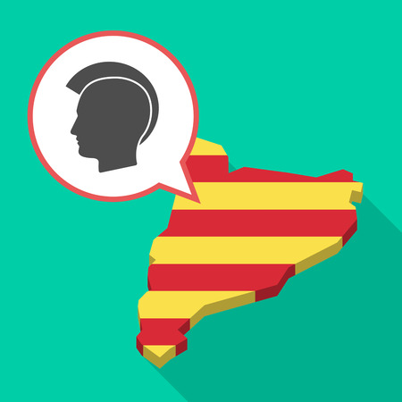 Illustration of a long shadow map of Catalonia with a comic balloon and  a male punk head silhouette Illustration