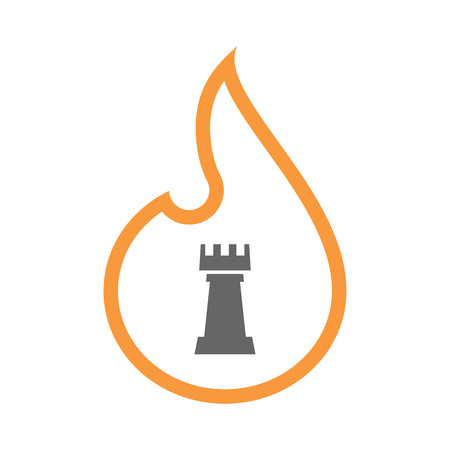 Illustration of a line art flame with a  rook   chess figure