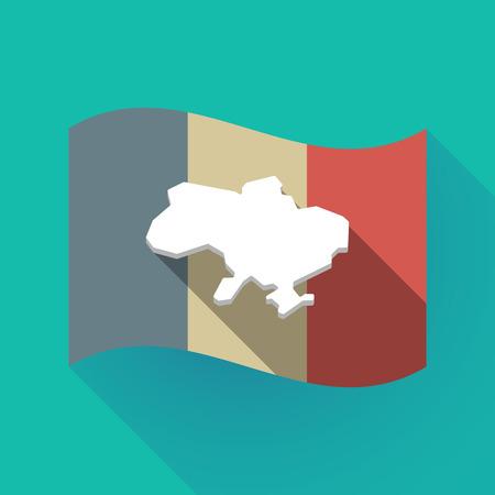 우크라이나의지도 함께 긴 그림자 프랑스 국기의 그림