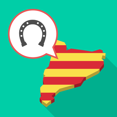 Illustration of a long shadow map of Catalonia with a comic balloon and  a horseshoe sign 向量圖像