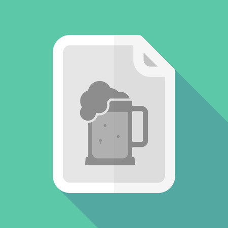 page long: Illustration of a long shadow document with  a beer jar icon