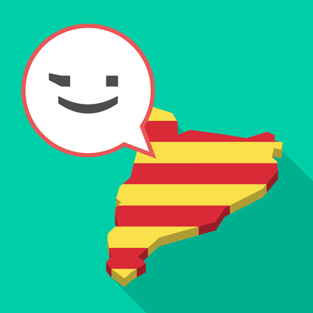 catalonia: Illustration of a long shadow map of Catalonia with a comic balloon and  a wink text face emoticon