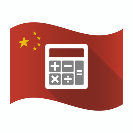 calculator chinese: Illustration of a waving China flag with  a calculator