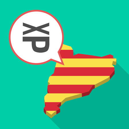 Illustration of a long shadow map of Catalonia with a comic balloon and  a Tongue sticking text face emoticon