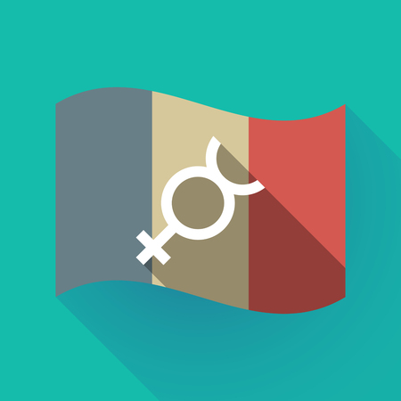 hermaphrodite: Illustration of a long shadow France flag with  the mercury planet symbol