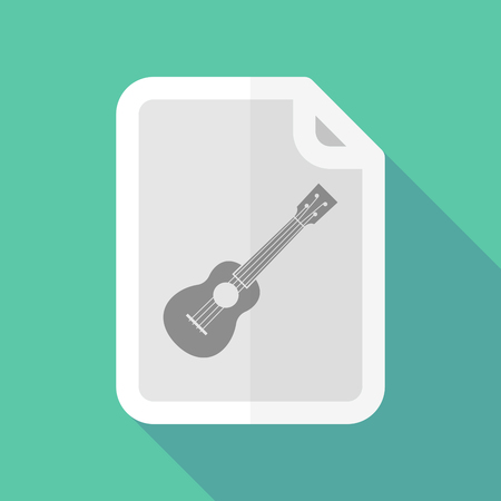 page long: Illustration of a long shadow document with  an ukulele