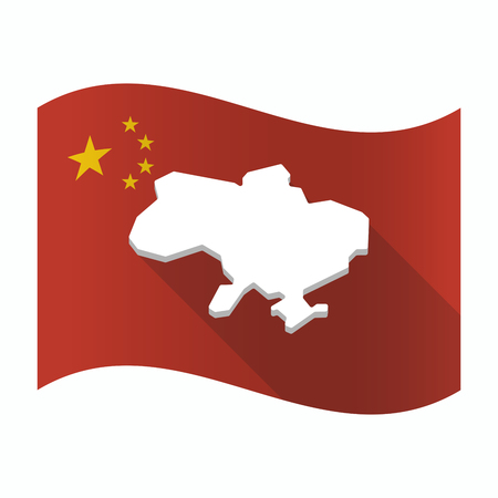Illustration of a waving China flag with  the map of Ukraine