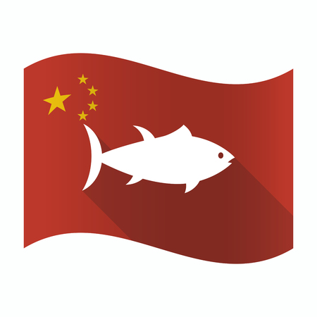 Illustration of a waving China flag with  a tuna fish 向量圖像