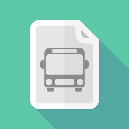 page long: Illustration of a long shadow document with  a bus icon a bus icon