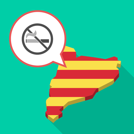 Illustration of a long shadow map of Catalonia with a comic balloon and  a no smoking sign