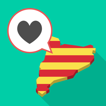 Illustration of a long shadow map of Catalonia with a comic balloon and  the heart poker playing card sign Illustration