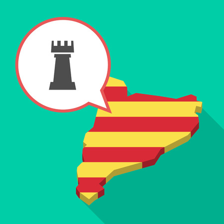 Illustration of a long shadow map of Catalonia with a comic balloon and a  rook   chess figure